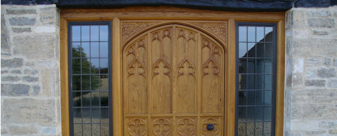 Oak Front Door with Carved Quatrefoils