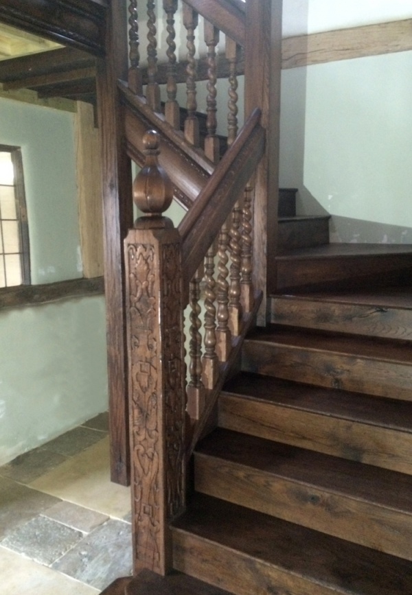 16th/17th Century Style Stairs and Gallery with Carved Newels and Barley Twist Balusters