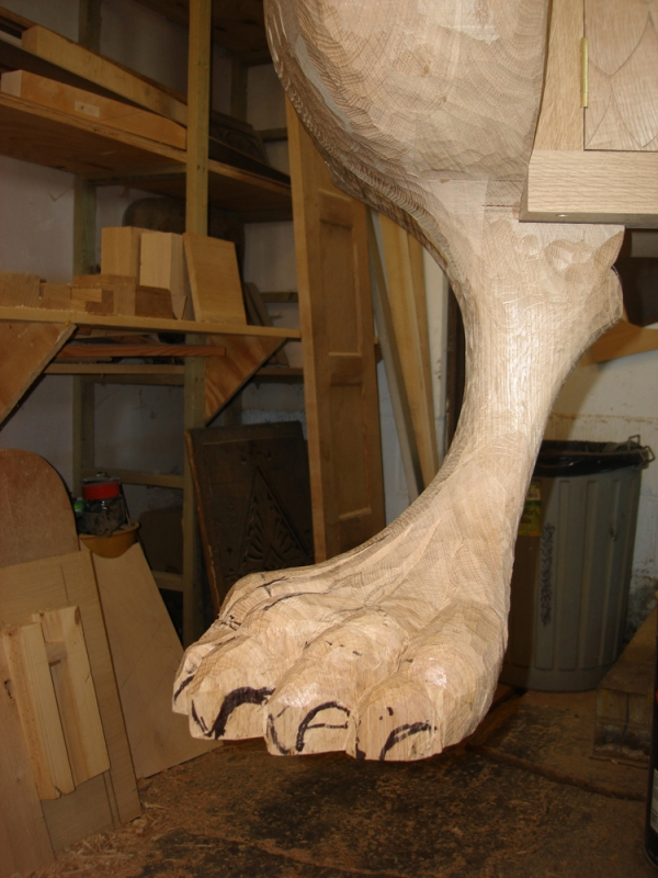 Roughing out the leg shape ready for fine carved details