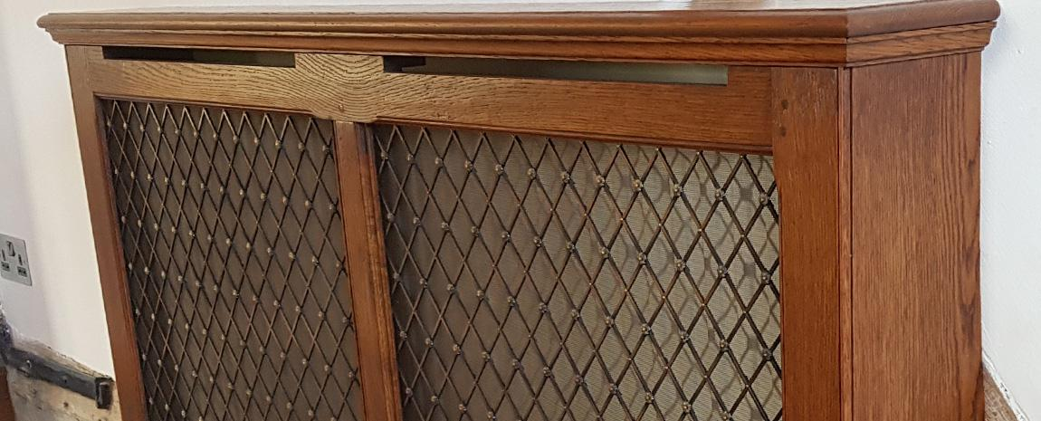 Solid Oak Radiator Cover and Brass Grille