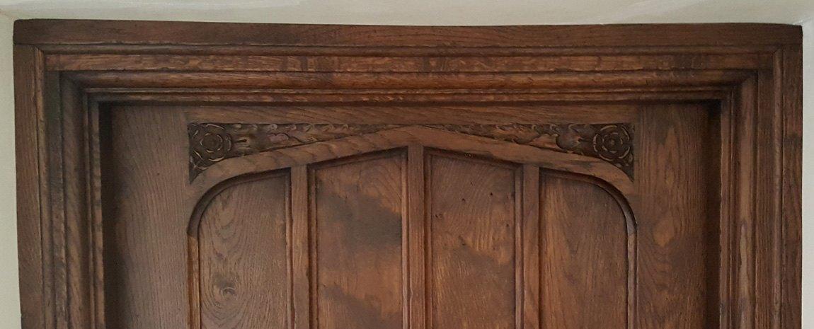 Hand Carved Door Head, Solid Oak