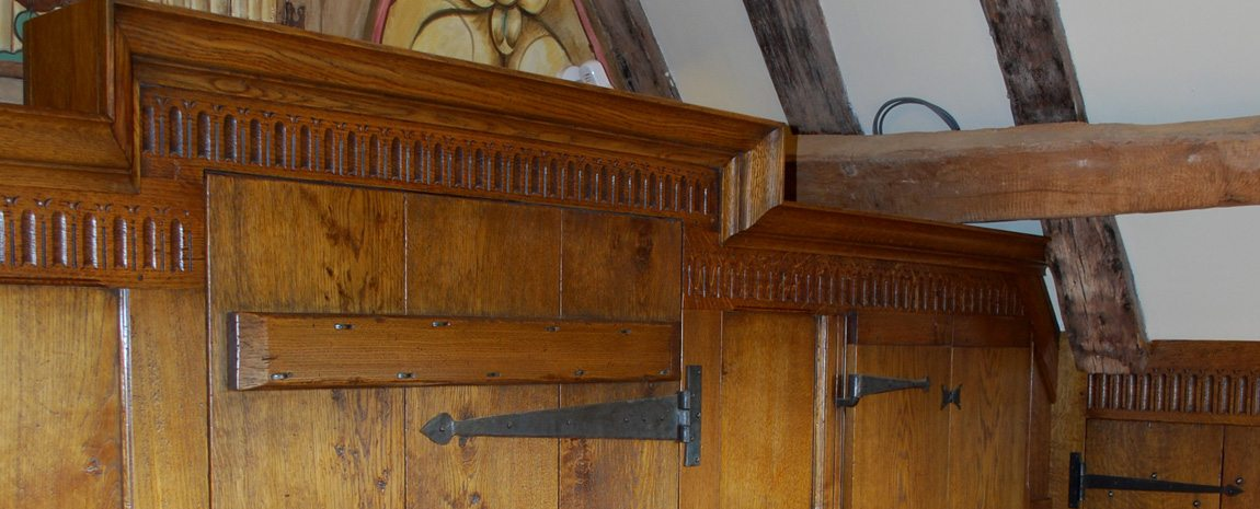 Oak Panelled Screen with Hand Carving