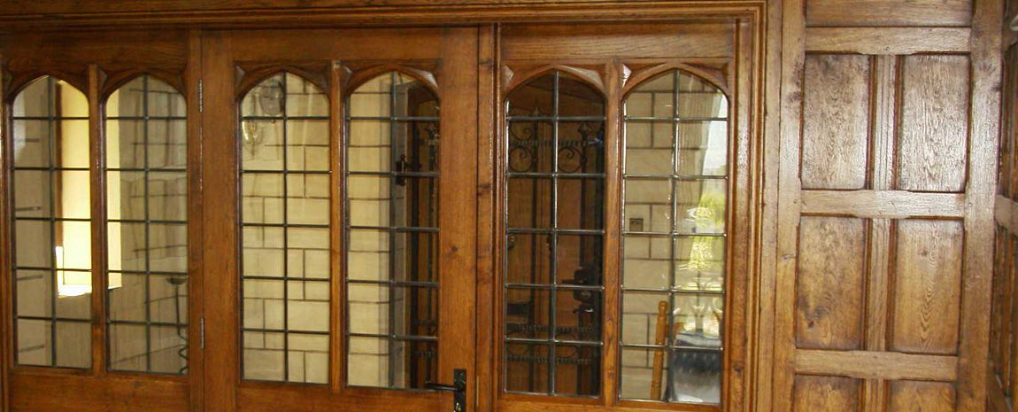 Oak and glass panelled doors