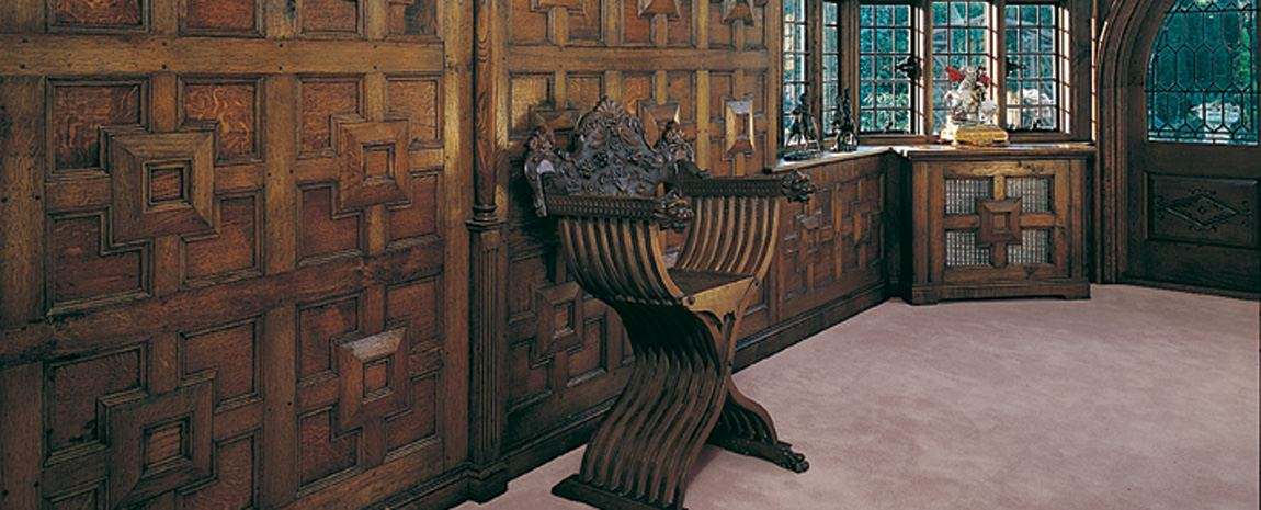 Dark oak panelling