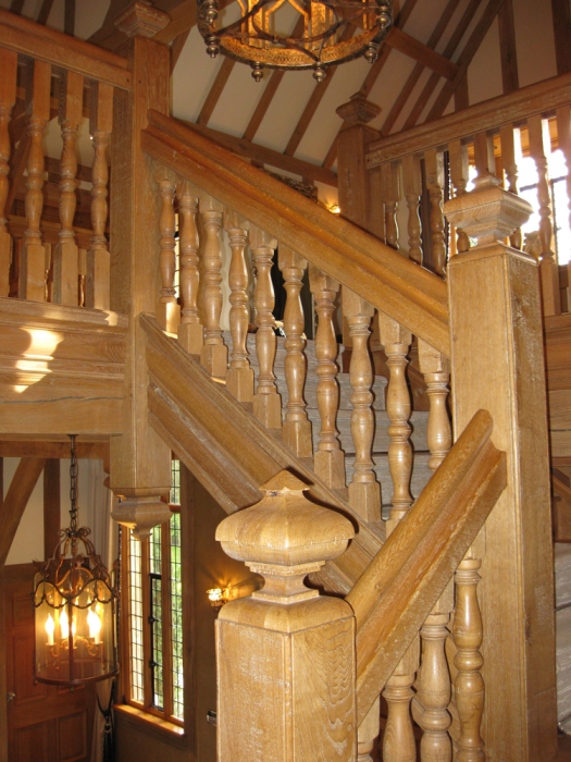 Oak Staircase and Galleries with Double Baluster Spindles and Square Cut Newel Caps