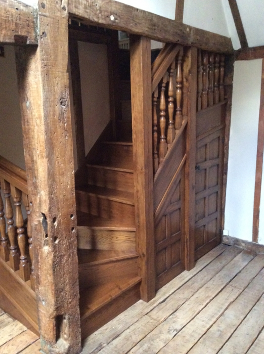 Oak Stairs and Cupboards fitted into existing very tight space