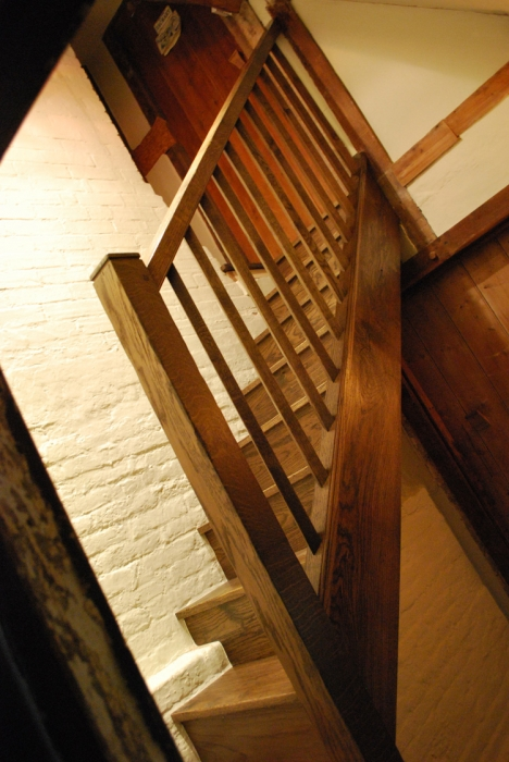 A Small Solid Oak Staircase with simple Chamfered Spindles