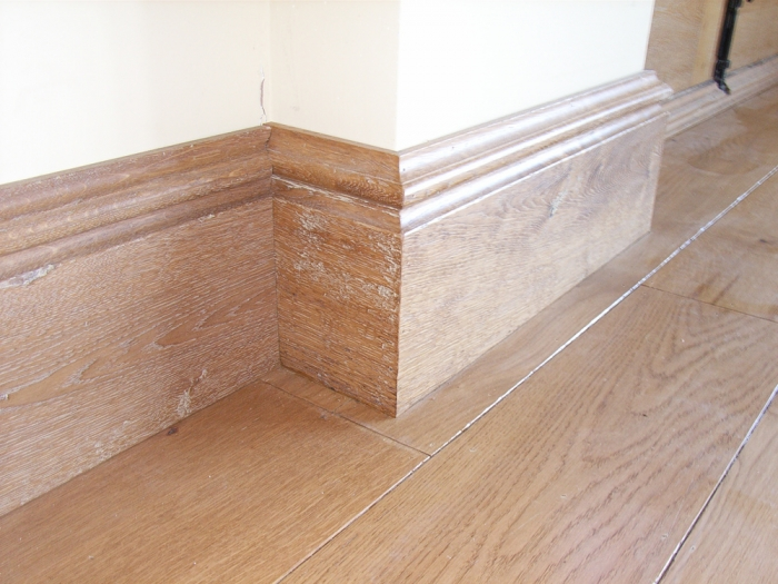 Wide Light Oak Flooring and Skirting