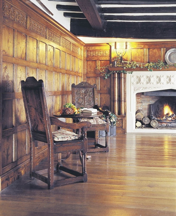 Solid Oak Flooring and Wall Panelling with Hand Carved Frieze