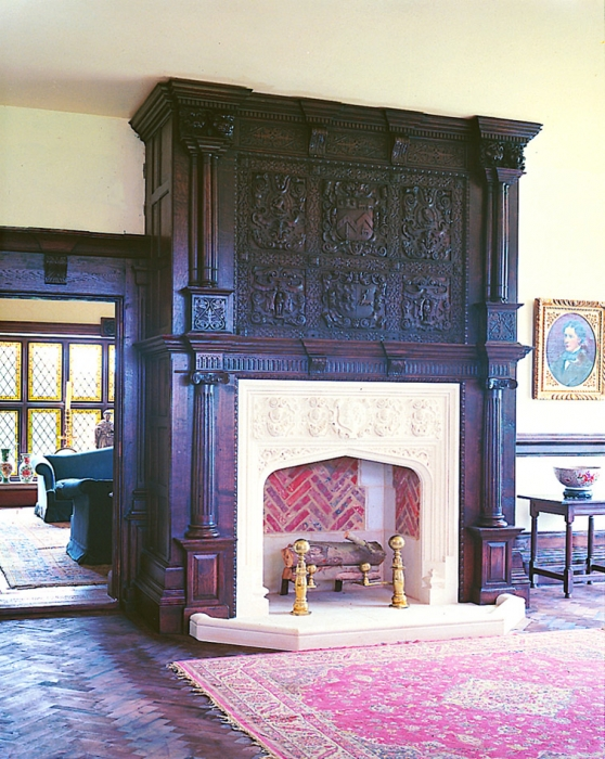Heavily Hand Carved Oak Overmantle with Fluted Columns