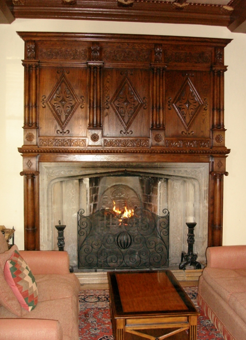 Hand Carved Oak Overmantle with Turned Columns