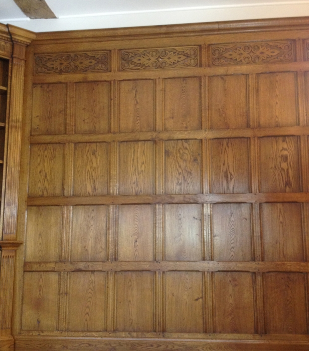 Plain Oak Panelling with Hand Carved Frieze