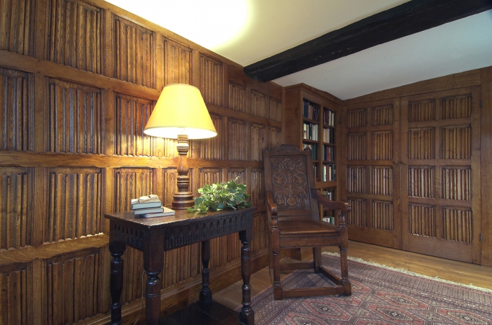 Oak Linenfold Panelling with Bookcase and matching Double Doors