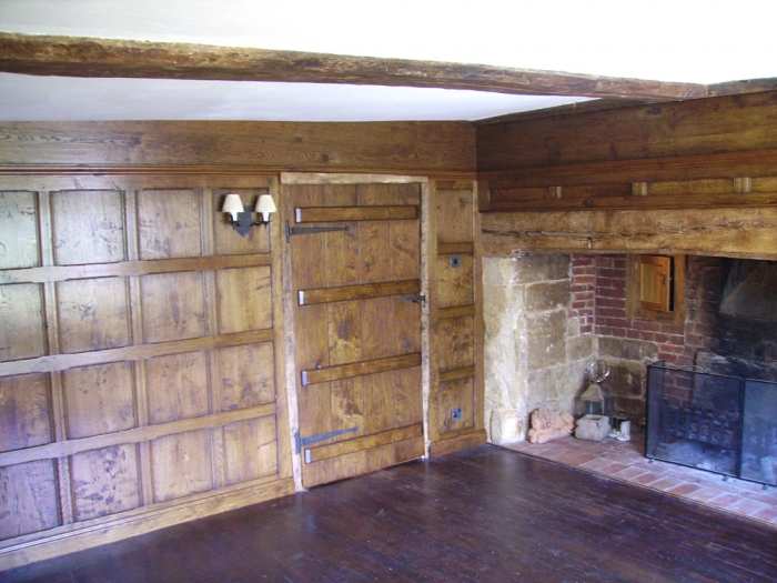 Plain 17th Century Style Oak Panelling and Boarded Cottage Door