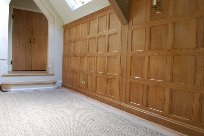 Solid Oak Panelling with Skirting and Cornice and a Pair of Oak Boarded Doors