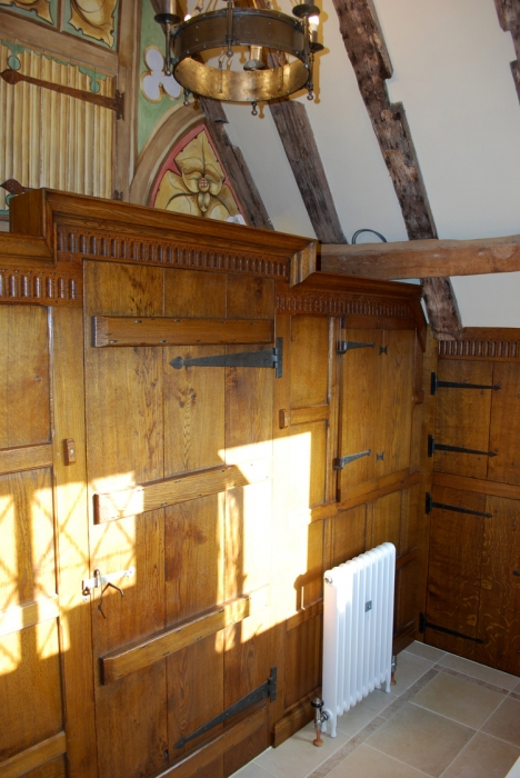 Oak Panelled Screen, Hand Carved with a Ledged Door