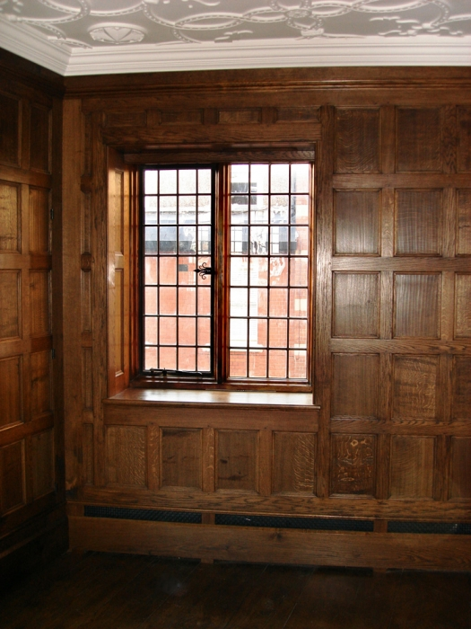 Solid Oak Wall Panelling with Panelled Window Reveal and Vented Skirting