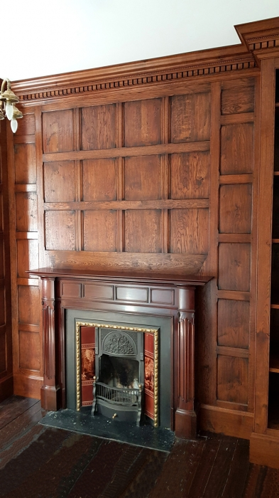 Solid Oak Panelling with Large Hand Carved Dentil Cornice and Fitted Oak Skirting
