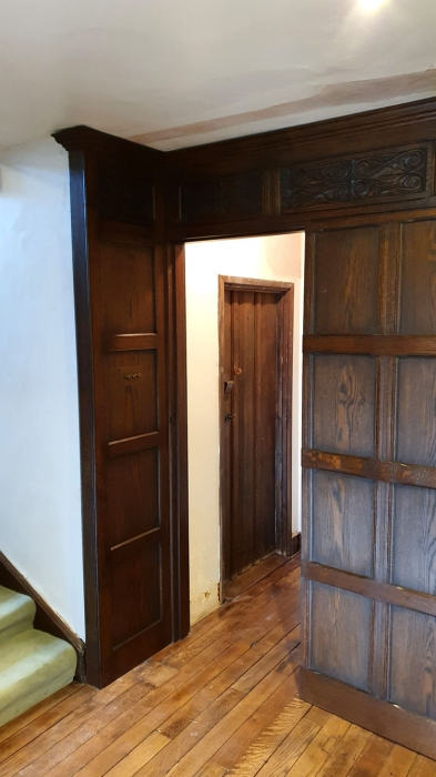 Hand made Solid oak wall panelling with hand carved panels