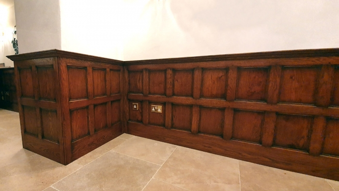 Half height Solid oak wall panelling
