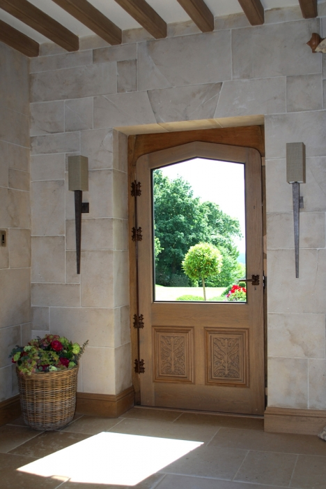Half Glazed Oak Door with Bespoke Handles and Hinges