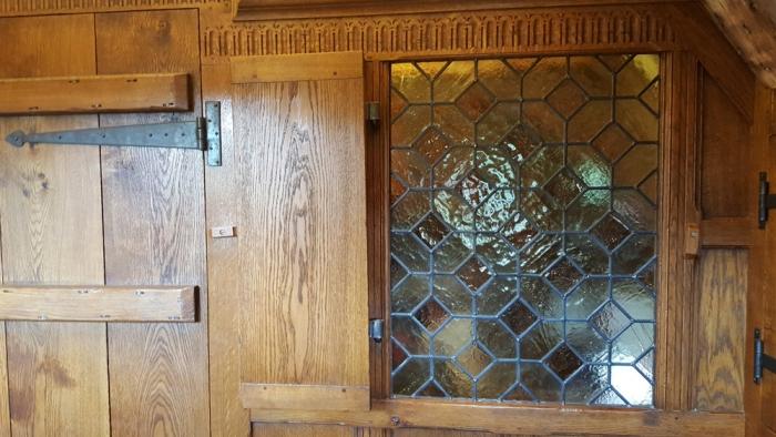 Hand Made Lead Light Window in Oak Panelled Screen