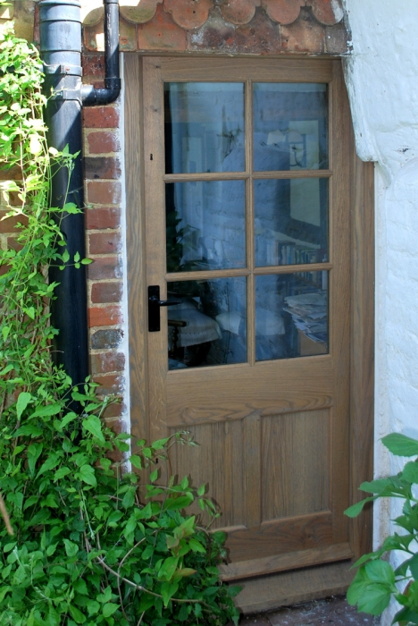 Solid Oak Half Glazed Door, Slim Krypton Gas Filled Double Glazed Units