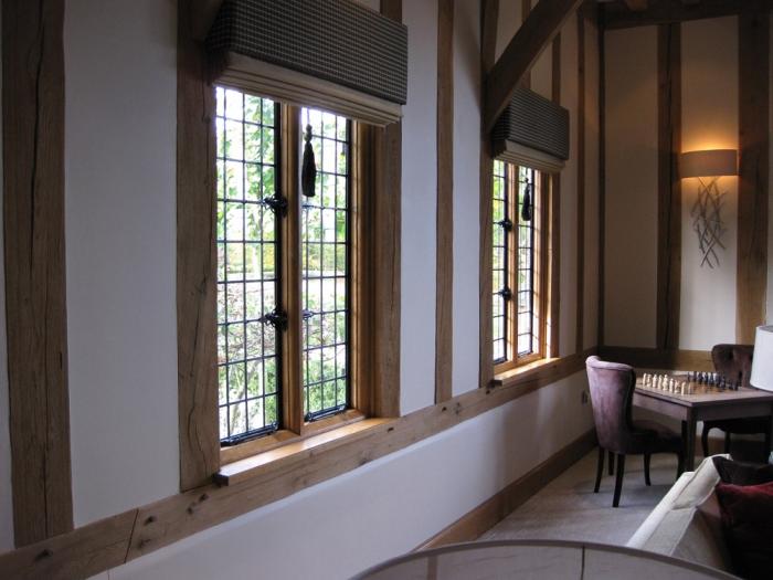 Oak Framed Window with Bronze Casements