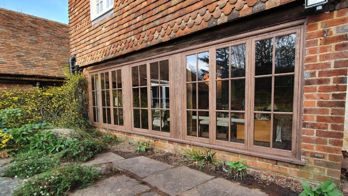 A large three bay Oak Framed Window with Krypton gas filled Slim double glazed units