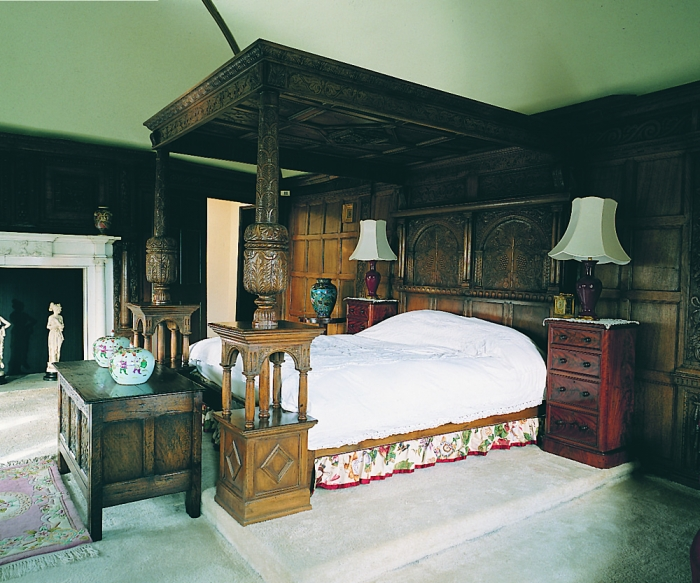 Oak 15th/16th Century Style Four Poster Bed with Carved Panelled Tester and Carved Coffer