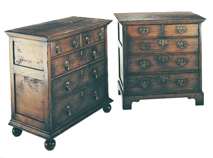 Oak Joined Chest of Drawers with Brass Handles and Bun or Bracket Feet