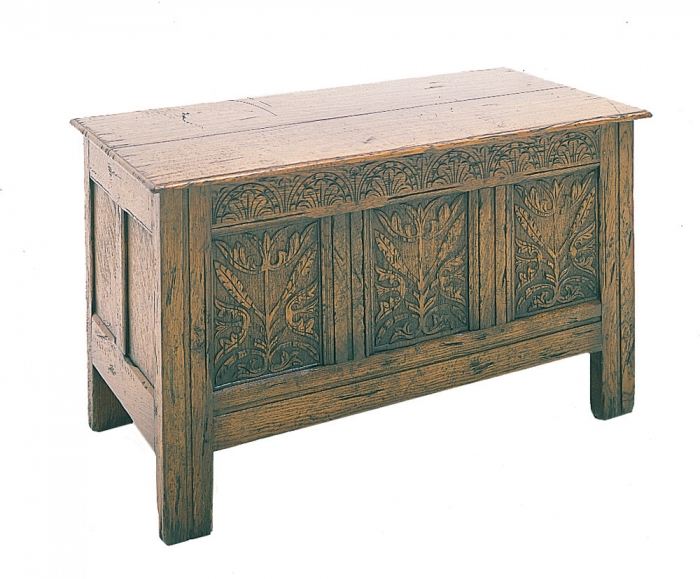 Oak Joined Chest with Thistle Carved Front Panels