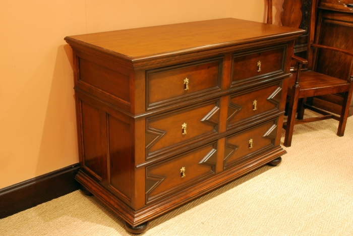 Cherry and Walnut Chest of Drawers with Hand Made Brass Handles