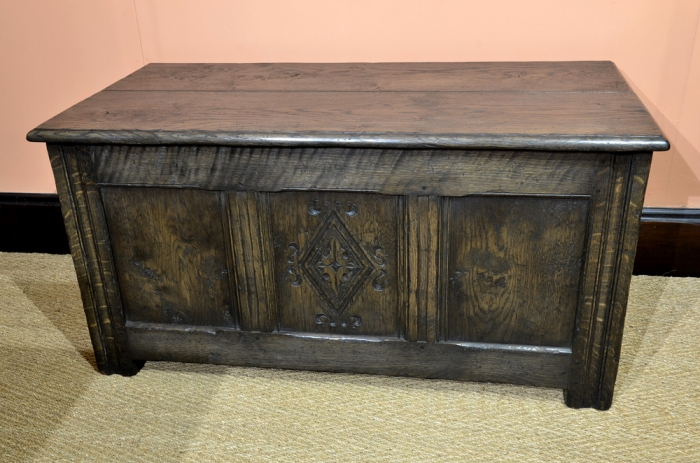 Hand Carved and Dark Stained Solid Oak Joined Chest