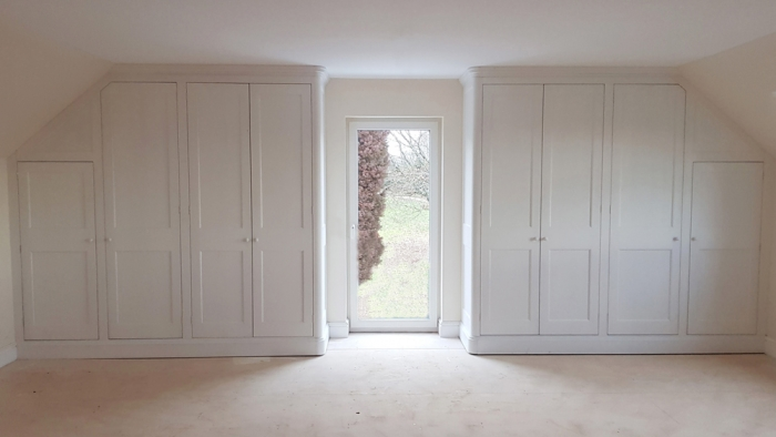 Fitted Painted Hardwood Wardrobe with Radius Ends and a Maple Interior
