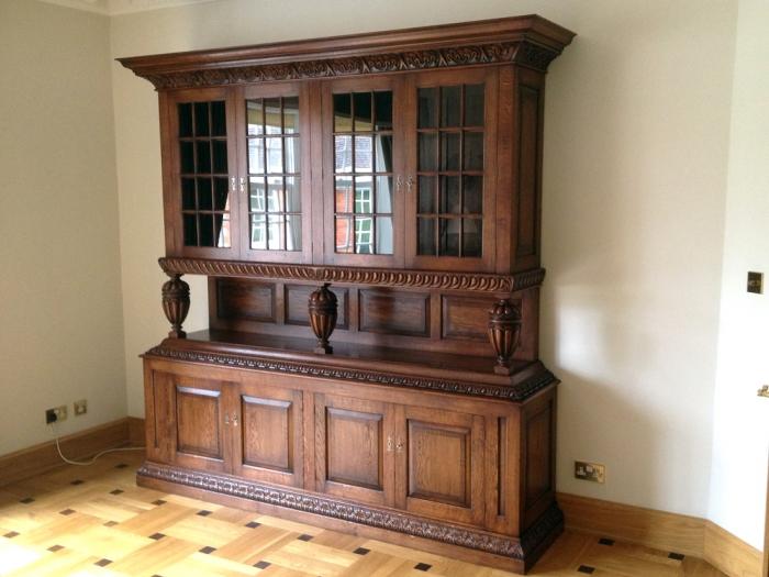 Bespoke Oak Display/Storage Cupboard with Walnut Cross-Banded Panels