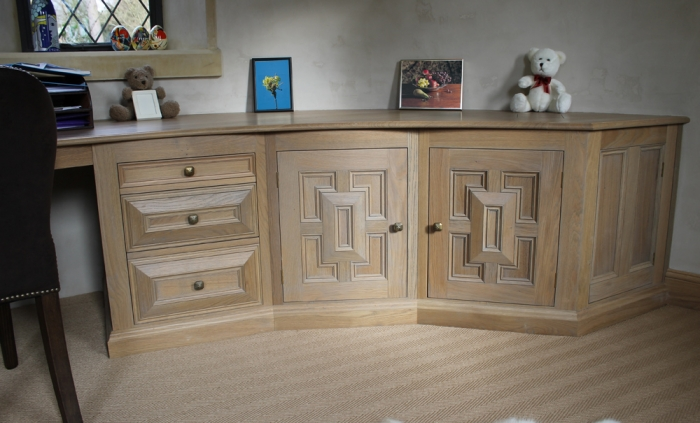 Curved Oak Desk with Geometric Style Cupboard Doors and Drawers with Soft Close Runners
