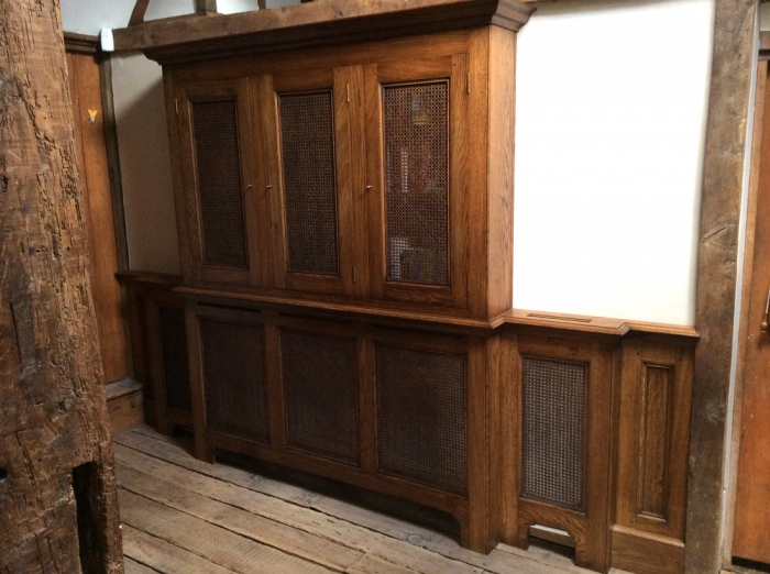 Oak Bookcase and Radiator Cover with Air Venting