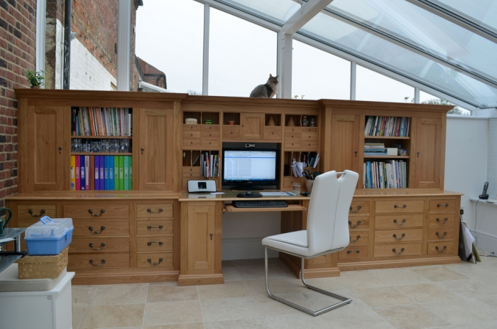 Oak Work Station with Cupboards, Drawers and File Drawers (and Catalogue Storage)