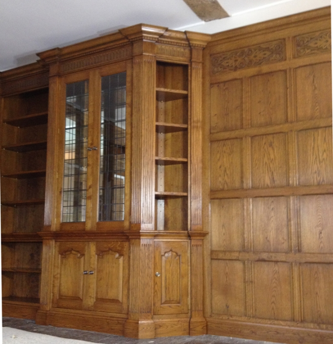 Oak Drinks/Display Cabinet with Corner Cupboard built into Panelling