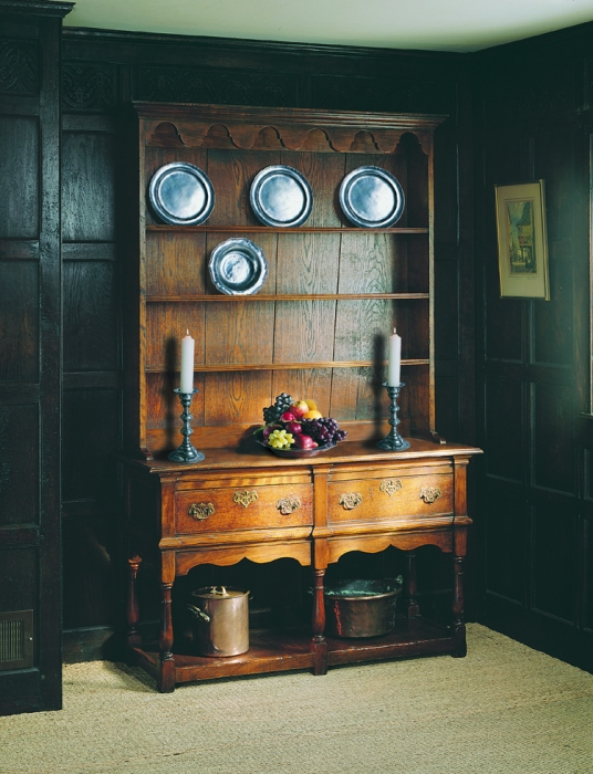 Pot Board Dresser with two Drawers and Plate Rack and Wide Random Oak Boarded Back