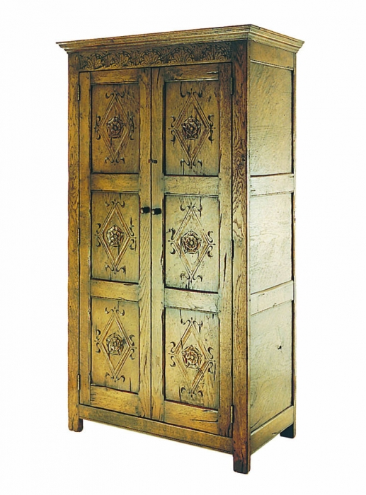Carved Oak Linen Press with Hanging Rail and Top Shelf