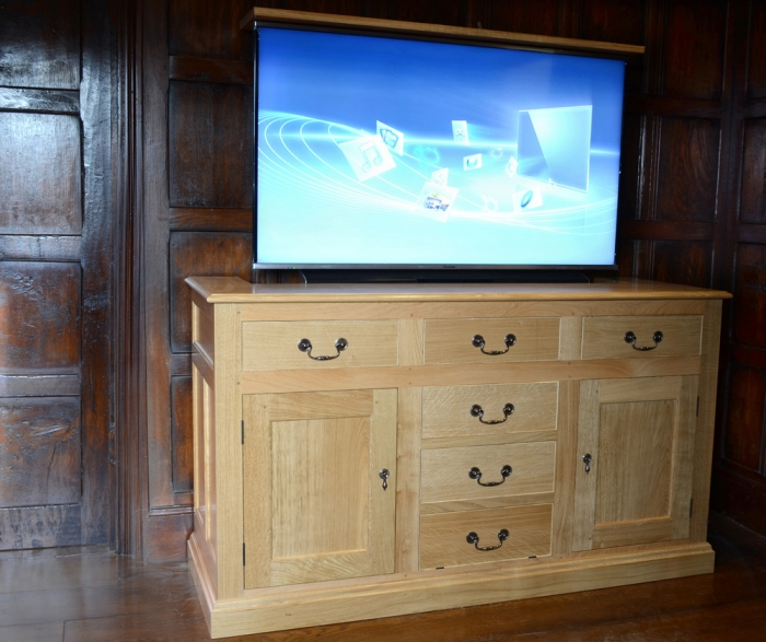 Light Solid Oak Dresser Base Incorporating Remote Controlled TV Lift