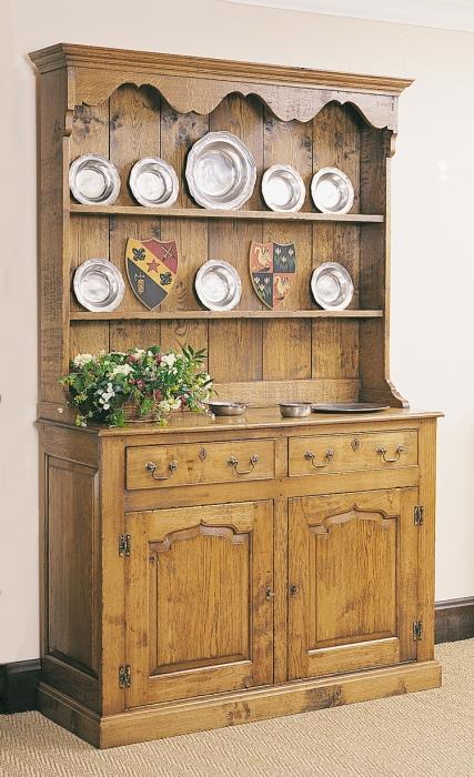 Oak Joined Welsh Dresser Cupboard with Plate Rack