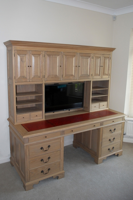Light Oak Computer Desk with Leather Inlaid Top,the bottom right hand drawers store the printer and paper