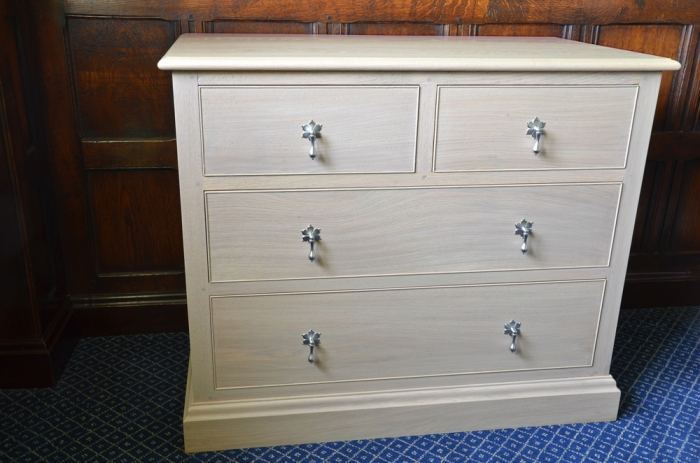 Oak Chest of Drawers with Pewter Handles, the Top Left Hand Drawer is a dummy and works as a Drop Down Flap