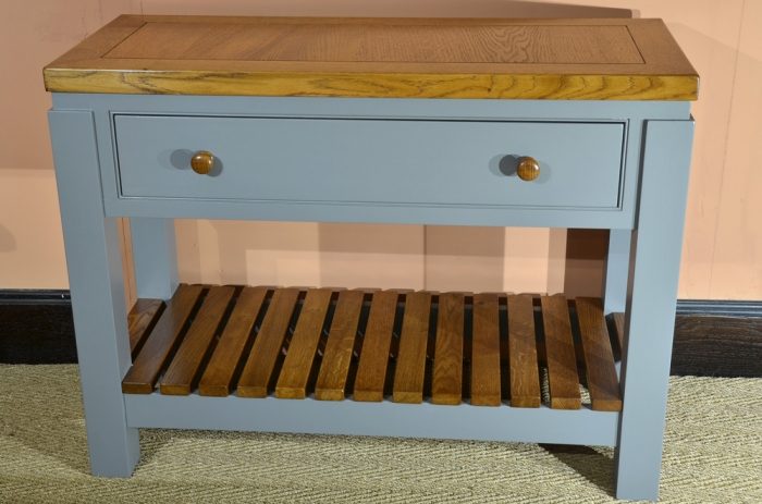 Stained Oak and Painted Hardwood Side Table for Kitchen/Bathroom