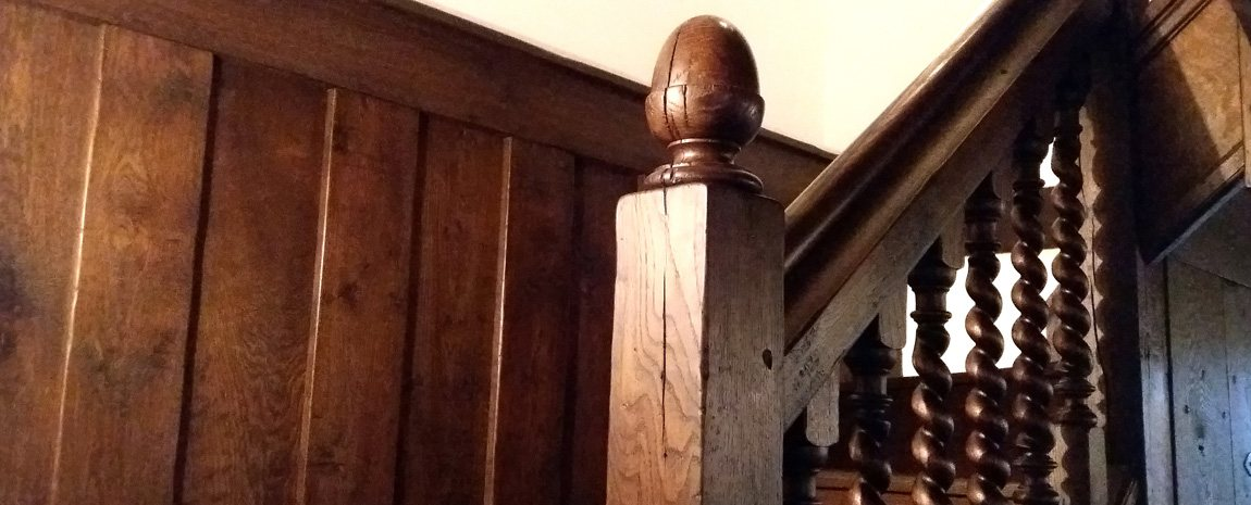 Oak Staircase with Acorn Finial and Barley Twist Turns