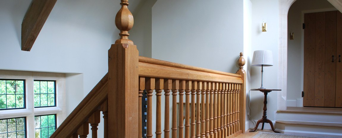 Oak Gallery with Turned Spindles and Hand Cut Newel Caps
