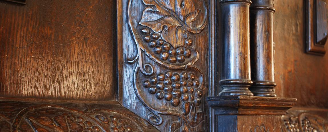 Oak Overmantle showing Hand Carving and Hand Turning detail